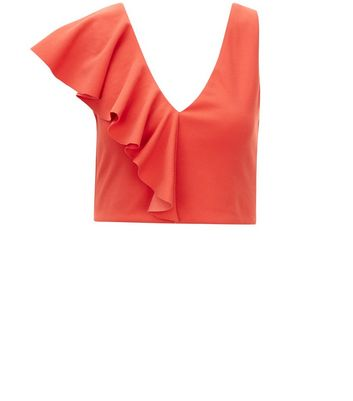 Red Asymmetric V Neck Frill Trim Crop Top New Look