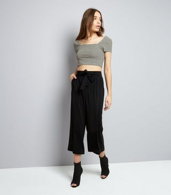 Black Stripe Square Neck Crop Top New Look