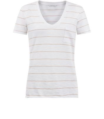 White Stripe Organic Cotton V Neck T-Shirt New Look