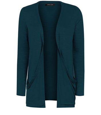 Dark Green Double Pocket Boyfriend Cardigan New Look