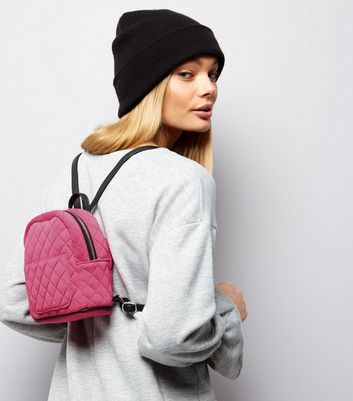 Pink Quilted Mini Backpack New Look