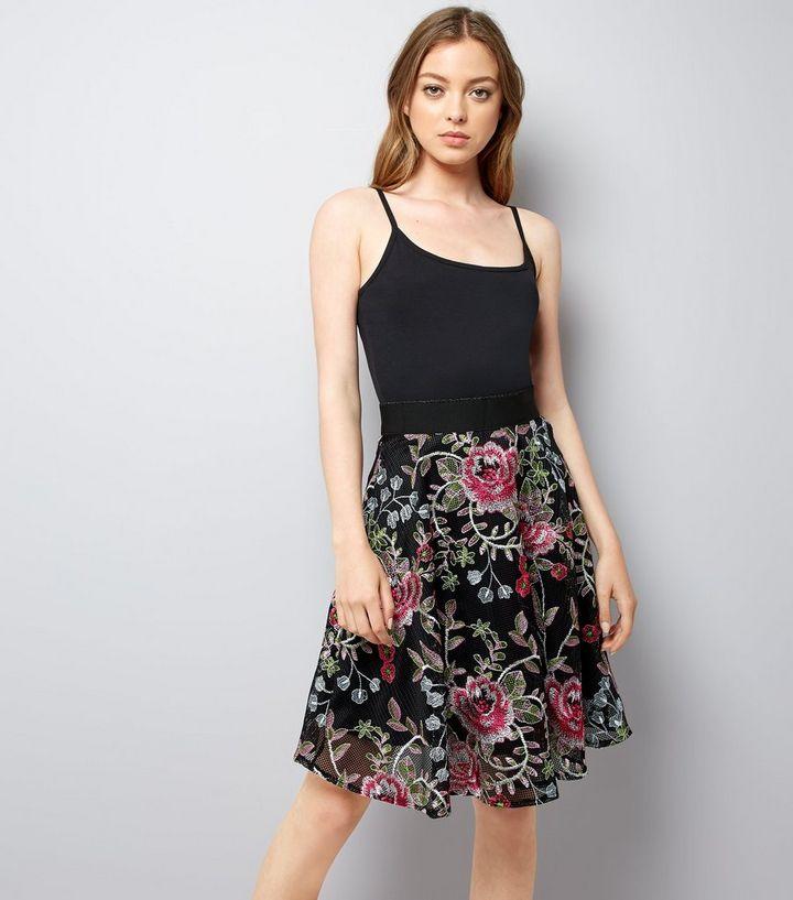 Black Floral Embroidered Mesh Skater Skirt  2524e69bb
