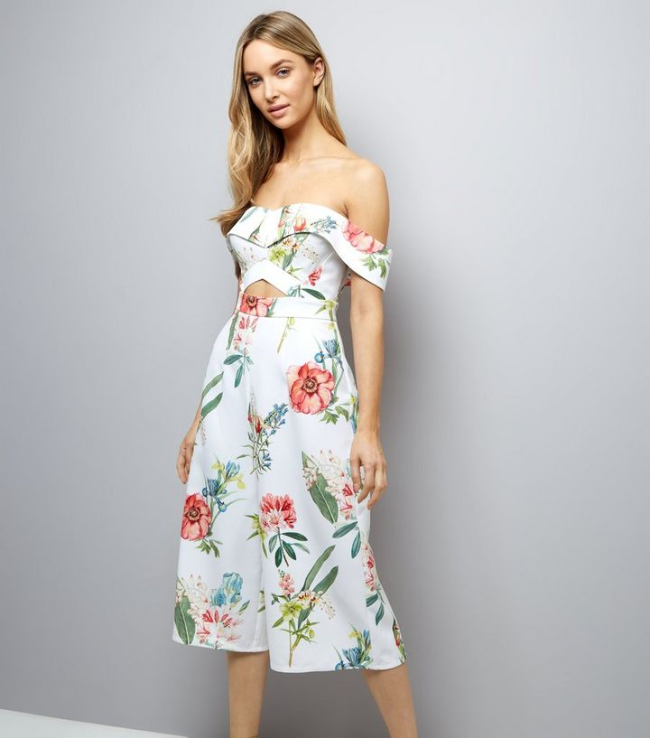 d11df8ef42d White Floral Print Bardot Neck Culotte Jumpsuit
