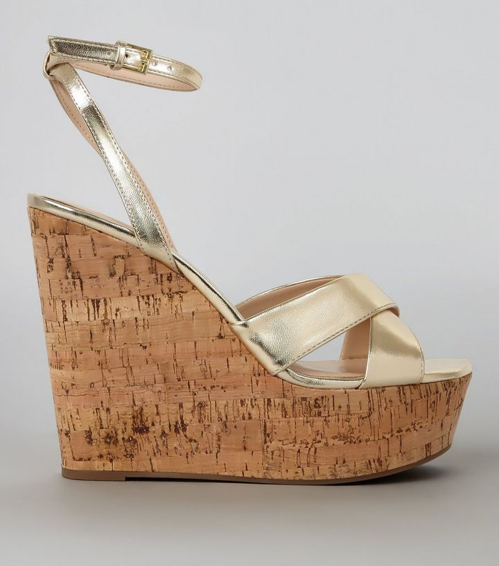how to buy special section discount Gold Cross Strap Cork Wedge Heels Add to Saved Items Remove from Saved Items