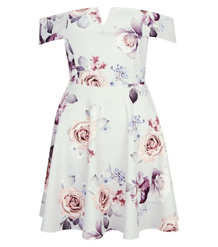 ... Grey Floral Print Bardot Neck Skater Dress. ×. ×. ×. Shop the look c2236028f