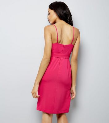 Pink Wrap Front Lace Trim Bodycon Dress New Look