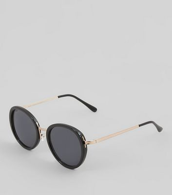Black Round Lense Sunglasses New Look