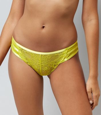 Yellow Lace Strappy Back Brazilian Briefs New Look