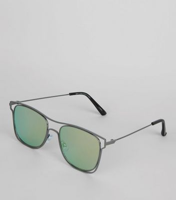 Black Wired Frame Mirrored Sunglasses New Look