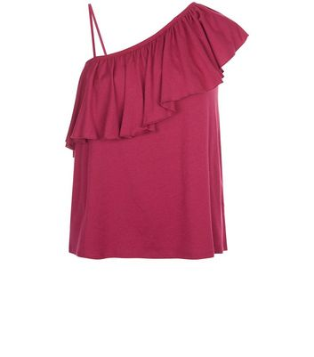 Deep Pink Frill Trim Off The Shoulder Top New Look