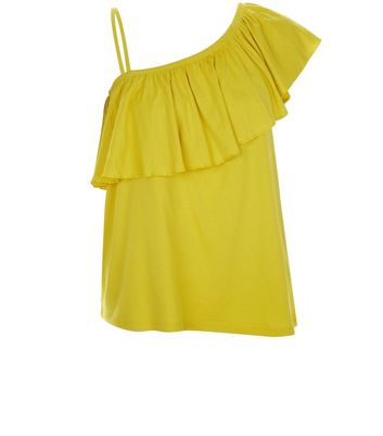 Yellow Off the Shoulder Frill Trim Top New Look