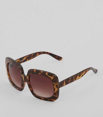 Brown Tortoiseshell Rectangular Ombre Lense Sunglasses New Look