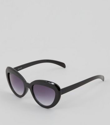 Black Oval Cat Eye Sunglasses New Look