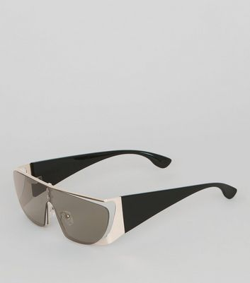 Black Metallic Trim Visor Sunglasses New Look