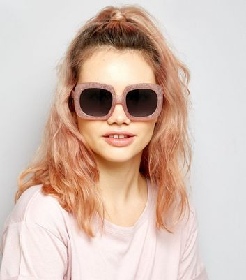 Pink Glitter Square Oversized Sunglasses New Look