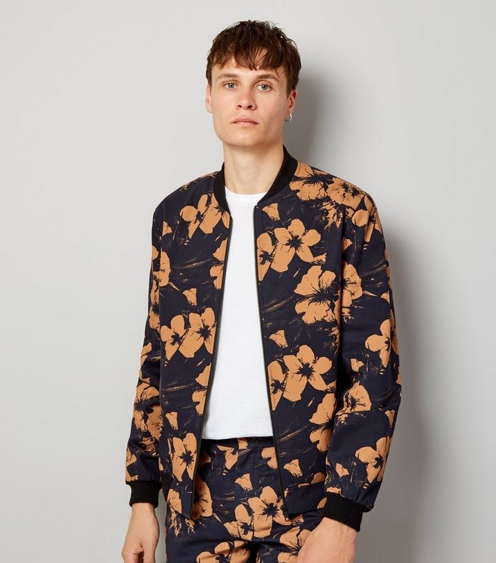 65d70648f Navy Floral Print Tailored Bomber Jacket Add to Saved Items Remove from  Saved Items