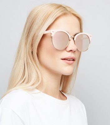 Pink Round Mirror Lens Sunglasses New Look