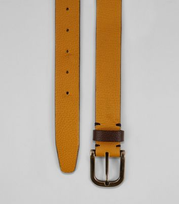 Yellow Leather Belt New Look