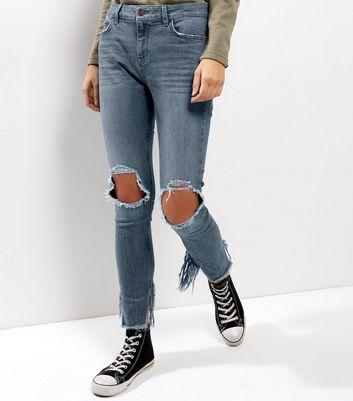 Blue Ripped Knee Fray Hem Skinny Jenna Jeans New Look