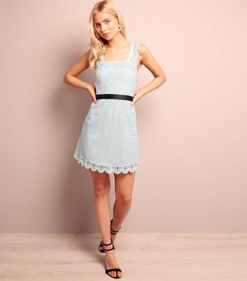 Pale Blue Scallop Hem Lace Tunic Dress New Look