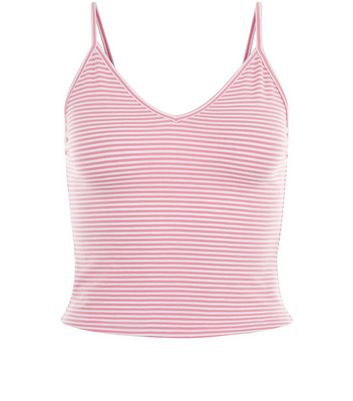 Pink Stripe V Neck Cropped Cami New Look