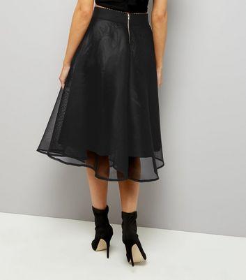 black-sheer-midi-skater-skirt