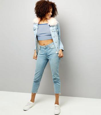 Blue Stripe Ribbed Shoestring Crop Top New Look