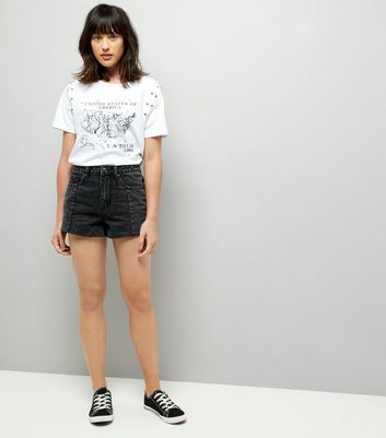 Black Seam Trim Denim Mom Shorts New Look