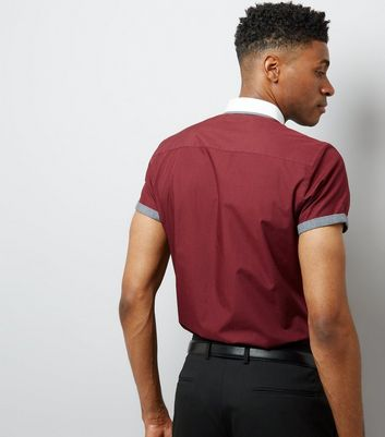 Burgundy Contrast Collar Short Sleeve Shirt New Look