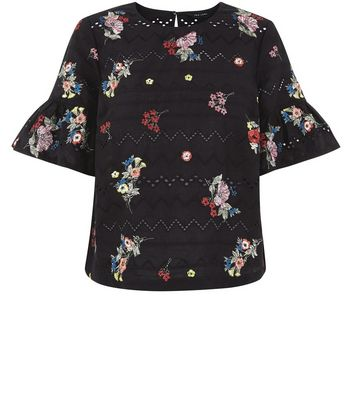 Black Embroidered Bell Sleeve Top New Look