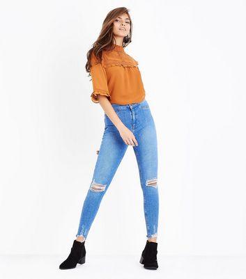 Blue Ripped Knee Fray Hem Skinny Hallie Jeans New Look