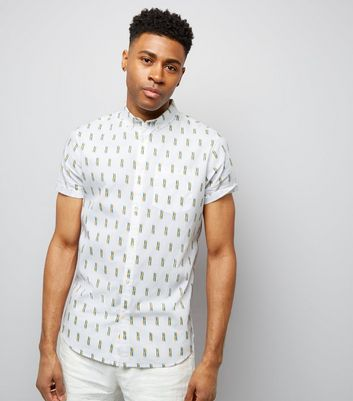 White Matchstick Print Short Sleeve Shirt New Look