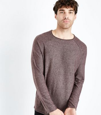Burgundy Raw Hem Jumper New Look