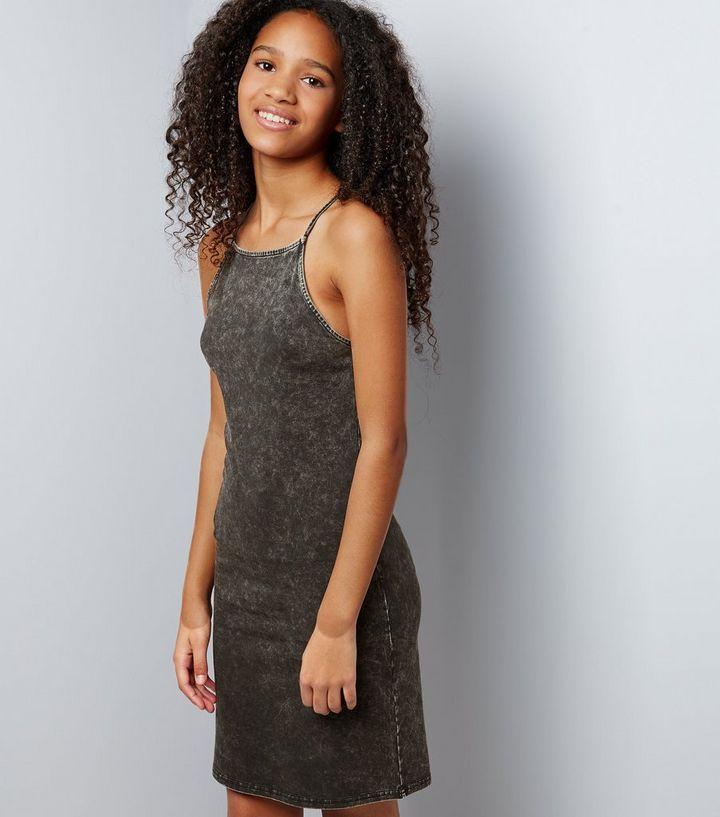 d84c3b95d2de Teens Dark Grey Acid Wash Bodycon Dress