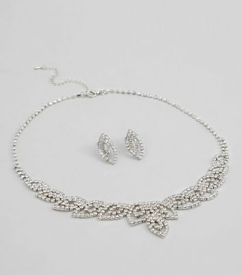 Crystal Leaf Matching Earrings and Necklace Set New Look