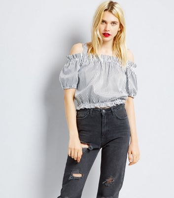 White Stripe Cold Shoulder Top New Look