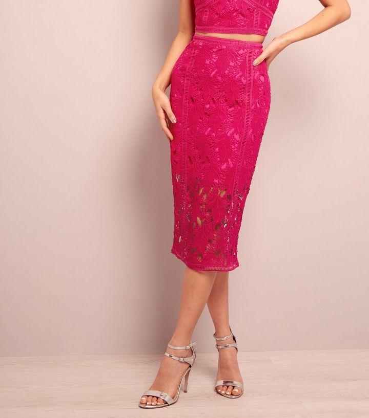 fec16acb5e Bright Pink Lace Midi Pencil Skirt | New Look