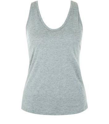 Mid Grey Scoop Neck Vest New Look
