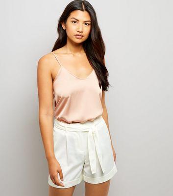 Cream Satin Tie Waist Shorts New Look