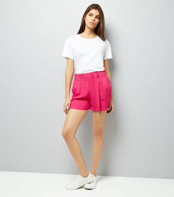 Pink Tie Waist Shorts New Look