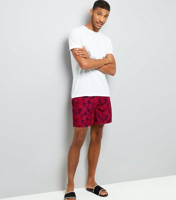 Navy Tropical Print Swim Shorts New Look