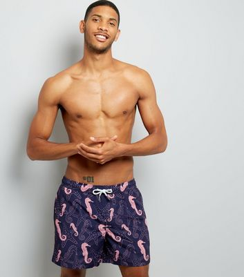 Blue Seahorse Print Swim Shorts New Look