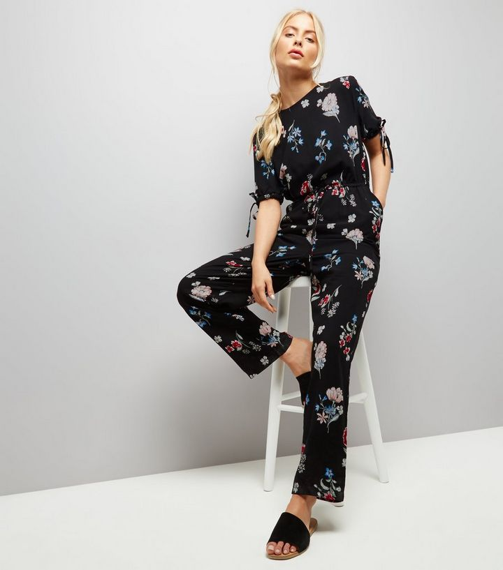 22f19bbcf865 Navy Floral Print Tie Sleeve Jumpsuit | New Look