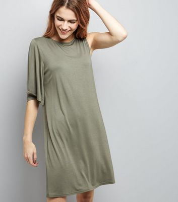 Khaki Single Sleeve Jersey T-Shirt Dress New Look