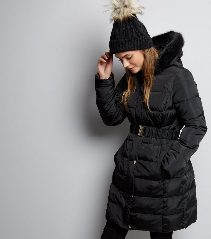 529c7d2f2ce Black Longline Belted Puffer Jacket Add to Saved Items Remove from Saved  Items