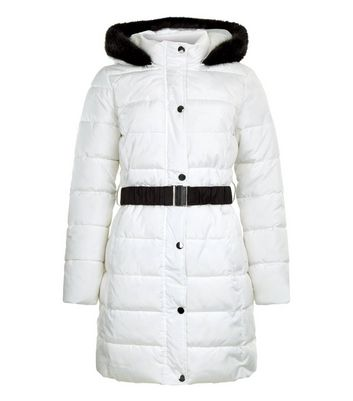 White Faux Fur Trim Belted Longline Puffer Jacket New Look