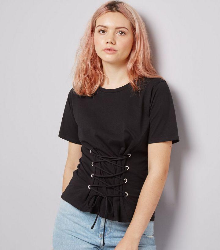 5628ce9d31d7 Black Lace Up Corset T-Shirt | New Look