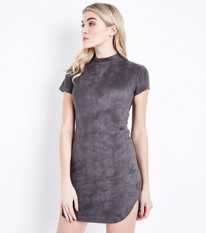 cf4b0262e879 AX Paris Dark Grey Suedette Funnel Neck Dress | New Look
