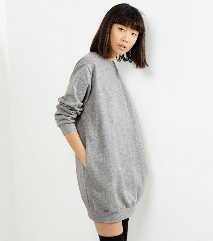 25f68a521db Influence Pale Grey Oversized Jumper Dress