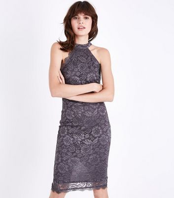 AX Paris Grey Lace High Neck Dress